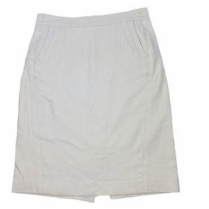 Ann Taylor Linen Ivory Pencil Skirt 2 Petite
